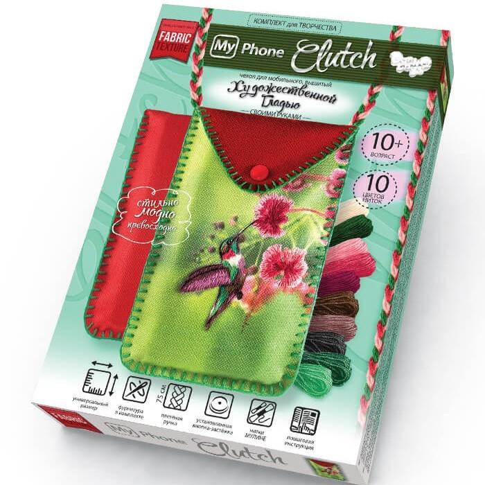 Наборы для вышивания Danko Toys Набор творчества My Phone Clutch Чехол телефона Вышивка гладью Колибри