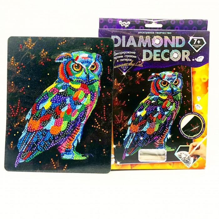 Картины своими руками Danko Toys Алмазная аппликация Diamond Decor Бриллиантовая Сова с глиттерными блестками