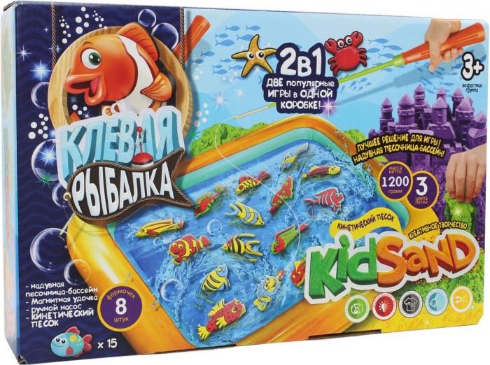 Кинетический песок Danko Toys Набор для творчества KidSand 2 в 1 Клевая рыбалка и Кинетический песок