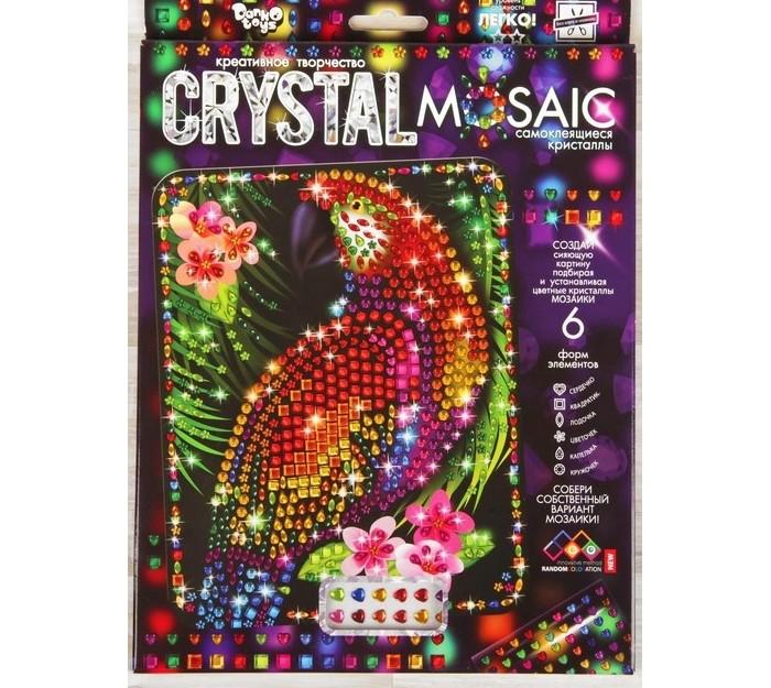 Картины своими руками Danko Toys Мозаика фигурными стразами Crystal Mosaic Попугай на темном фоне