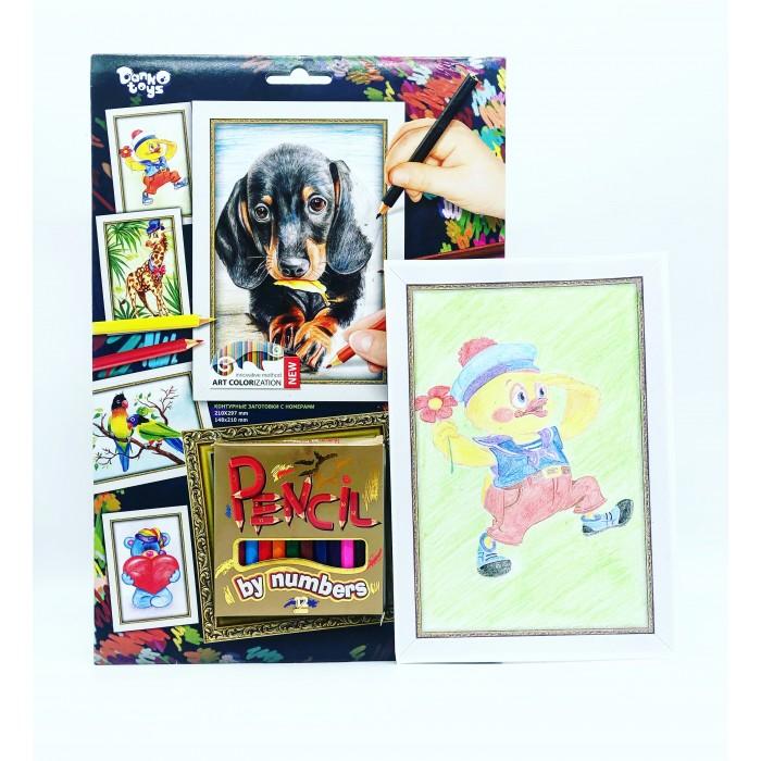 Раскраски Danko Toys Pencil by number карандашами по номерам Собачка