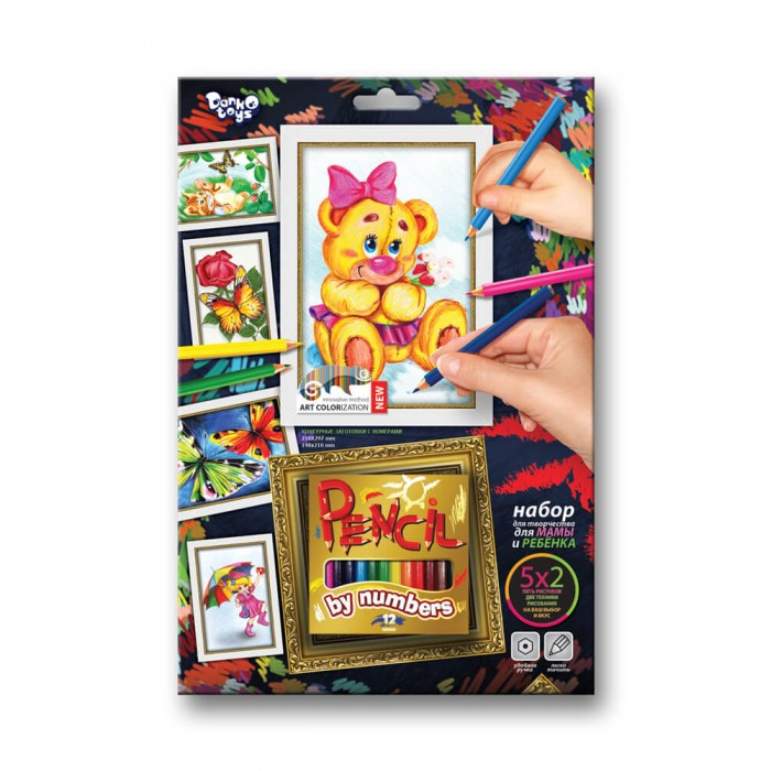 Раскраски Danko Toys Pencil by number карандашами по номерам Медвежонок с цветком