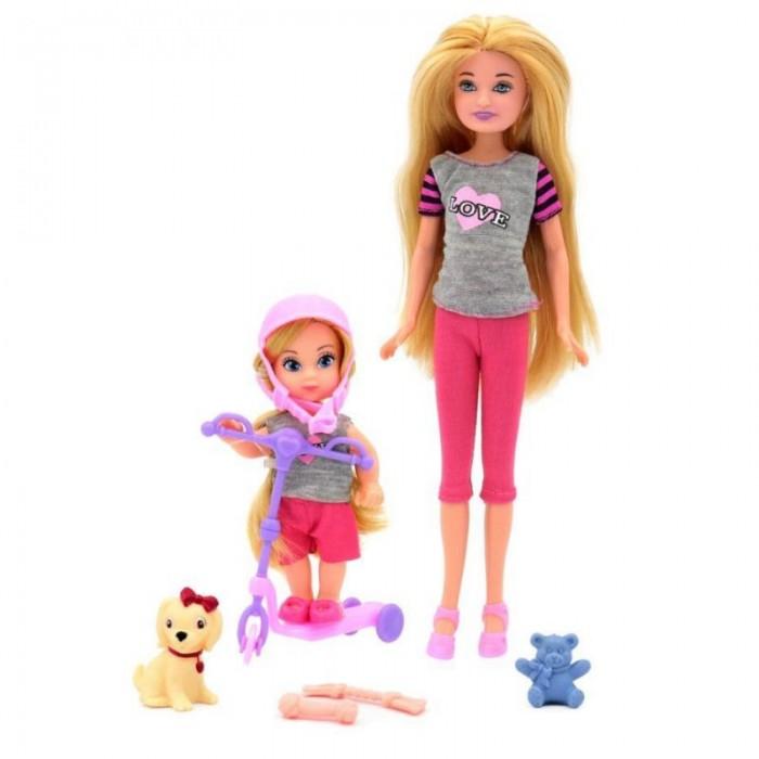 Купить Куклы и одежда для кукол, Funky Toys Кукла Мила 23 см с куклой Вики 12 см на самокате и с собачкой