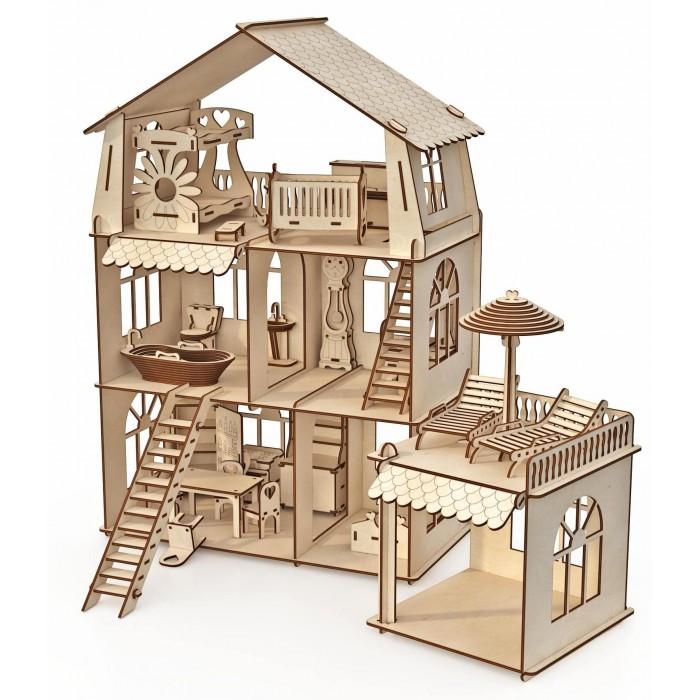 ХэппиДом Конструктор-кукольный домик Коттедж с пристройкой и мебелью Premium фото