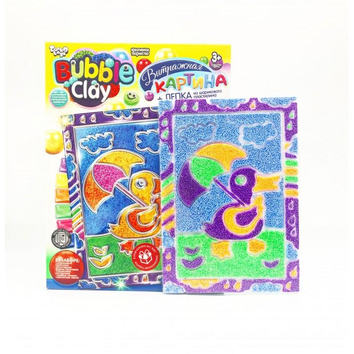 Наборы для творчества Danko Toys Набор для творчества Bubble Clay Витражная картина из шарикового пластилина Утенок