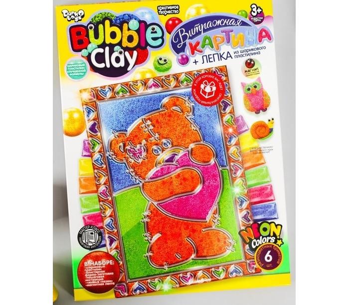 Наборы для творчества Danko Toys Набор для творчества Bubble Clay Витражная картина из шарикового пластилина Мишка