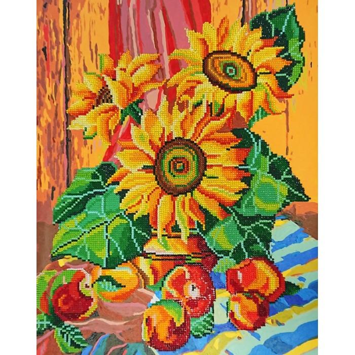 Купить Картины по номерам, Color Kit Алмазная картина-раскраска Натюрморт с подсолнухами