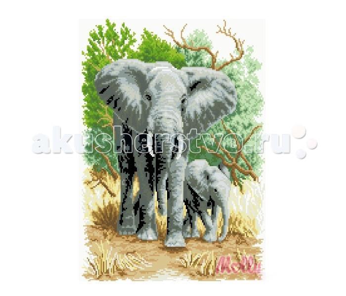 Molly Мозаичная картина Слоны на прогулке 40х50 см