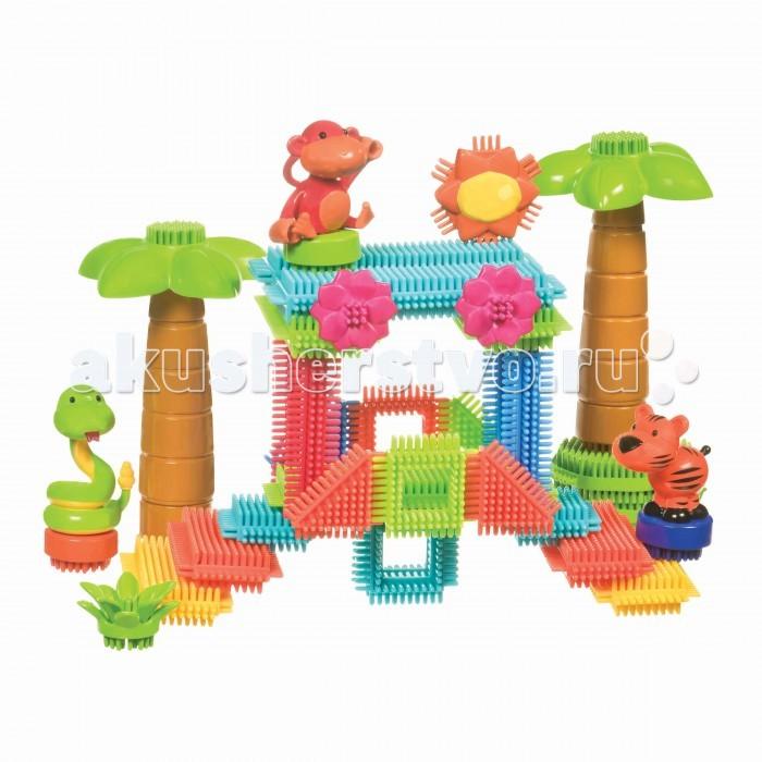 Конструктор Bristle Blocks Путешествие в джунглях в контейнере 56 деталейПутешествие в джунглях в контейнере 56 деталейBristle Blocks Конструктор Путешествие в джунглях в контейнере.  Оригинальный игольчатый конструктор Bristle Blocks Путешествие в джунглях - тактильный детский конструктор, который позволит вашему ребенку проявить фантазию. Игрушки Bristle Blocks имеют неповторимый дизайн, максимально безопасны и надежны и, что не менее важно, обладают высоким развивающим потенциалом. Увлекательный конструктор, состоящий из множества ярких щетинистых блоков разной формы, размеров и цветов.   Пластиковые элементы легко и быстро скрепляются, при этом обеспечивая прочное сцепление. Ваш ребенок будет часами сидеть за творческой работой, соединяя необычные игольчатые элементы в уникальные сооружения, напоминающие джунгли. Комплект включает 55 элементов и 3 фигурки для сборки конструктора, в том числе элементы с цветочками, в виде лиан или с фигурками обезьянки, тигренка и змеи.   Конструктор упакован в пластиковый контейнер с крышкой, удобный для хранения. Крышка контейнера может служить платформой для постройки. Игольчатый конструктор Путешествие в джунглях поможет ребенку развить мелкую моторику рук, логическое и пространственное мышление, творческие способности, а также поможет научиться соотносить форму и величину предметов.<br>