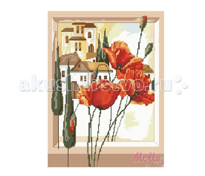 Molly Мозаичная картина Маки в окне 40х50 см