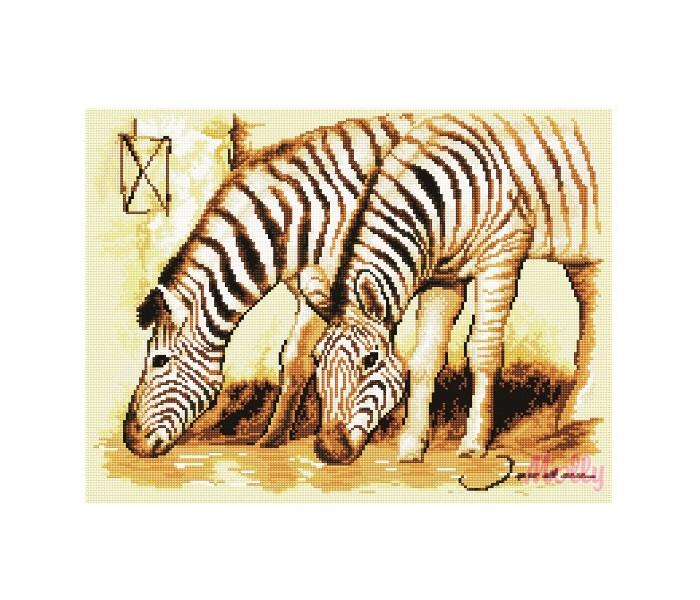 Творчество и хобби , Картины своими руками Molly Мозаичная картина Зебры 40х50 см арт: 83083 -  Картины своими руками