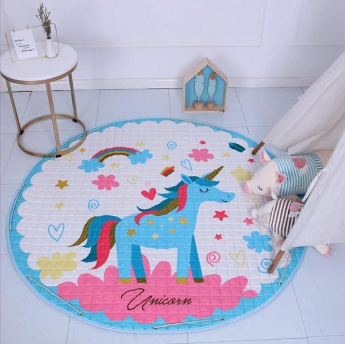 Купить Детские ковры, Porolon Стеганый игровой коврик-мешок Радужный единорог 1, 5м