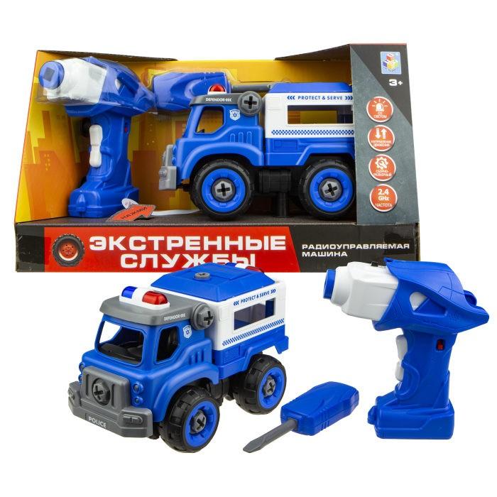 Купить Радиоуправляемые игрушки, 1 Toy Машинка Экстренные службы полицейский грузовик на радиоуправлении