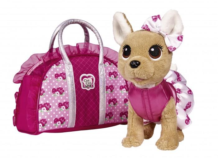 Интерактивная игрушка Chi-Chi Love Плюшевая собачка Модная собачка с сумочкой, 20 см фото