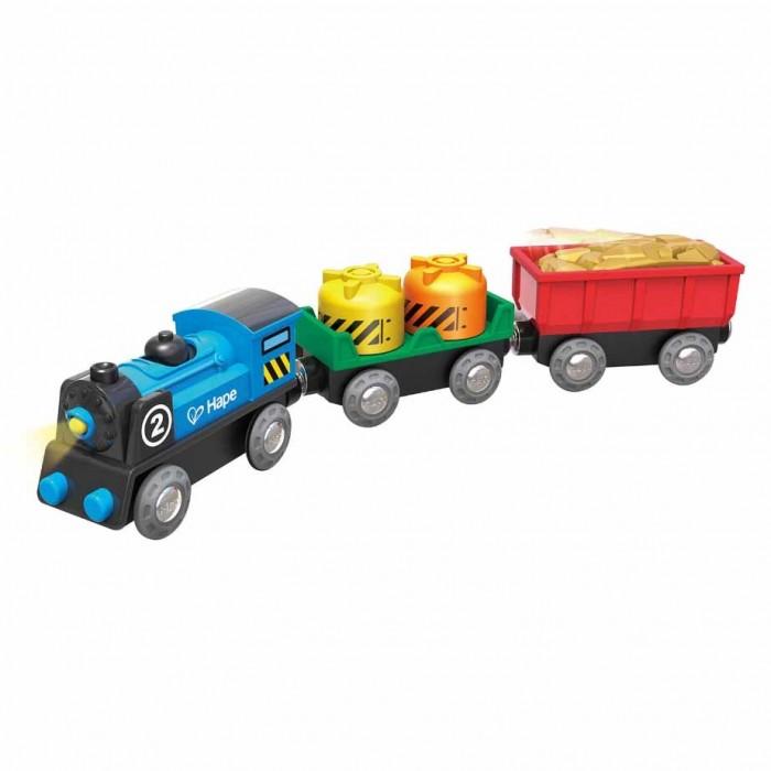 Купить Железные дороги, Hape Игровой набор Поезд с грузовыми вагонами