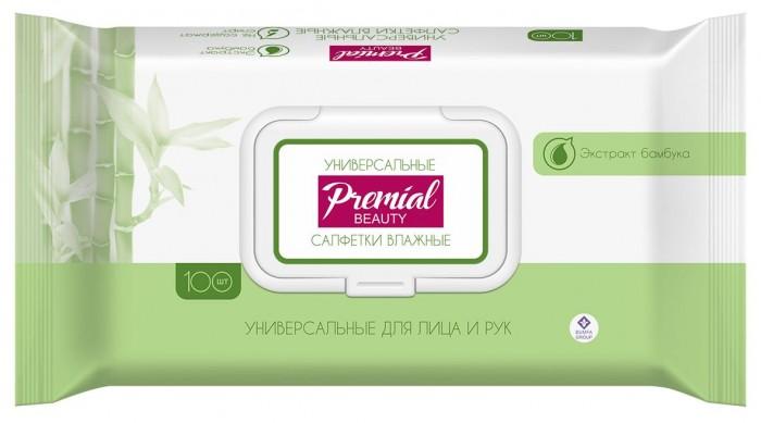 Салфетки Premial Natural Влажные салфетки универсальные с экстрактом бамбука 100 шт. (пластиковая крышка)
