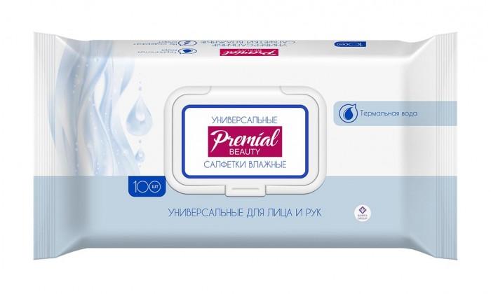 Салфетки Premial Natural Влажные салфетки универсальные с термальной водой 100 шт. (пластиковая крышка)
