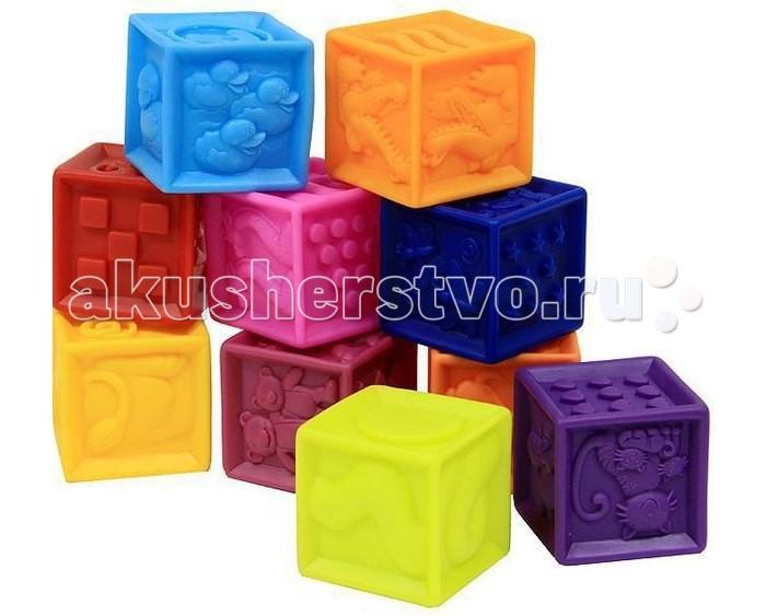 Развивающая игрушка Battat B.Dot Мягкие кубики One Two SqueezeB.Dot Мягкие кубики One Two SqueezeBattat B.Dot Мягкие кубики One Two Squeeze.  Мягкие кубики Battat One Two Squeeze – веселая игра для самых маленьких. Малыш только что проснулся, отдыхает после обеда или пошел купаться? Любое занятие становится еще интереснее, если взять в руки рельефные кубики, украшенные изображениями животных, абстракций и цифр.  Играем в кубики Battat В руках вашего ребенка 10 мягких кубиков, с которыми можно делать все, что угодно! Играйте в кроватке. Малыш с радостью вертит и сжимает кубики, а вы рассказываете ему об изображенных животных. Проведите его пальчиками по рельефным изображениям, обведите грани кубика. При этом называйте предметы и формы. А когда у ребенка появляется первый зуб, каждый кубик становится настоящим прорезывателем.  Играйте в ванной. Кубики Battat – альтернатива резиновым игрушкам. Обучение и развитие малыша не прекращается ни на секунду! Ребенок играет с жирафами, кошками, обезьянками во время купания. Он запоминает их внешний вид и особенности. Сопроводите игру в ванне сказками обо всех животных. Кубики весело пищат и дарят малышу хорошее настроение. Учитесь считать. На каждом кубике – число от 1 до 10.   На других гранях изображено соответствующее количество полосок, сердечек, кружочков. Очень скоро ваш малыш запомнит числа первого десятка! Также его порадуют рельефные изображения животных, которые интересно изучать пальчиками. Соберите первый конструктор! Из кубиков выходят разноцветные мягкие башни, в которых живут самые разные звери. Строя для них домики, малыш повторяет цифры. Например, попросите его поставить кубики друг на друга в порядке возрастания или уменьшения чисел.  Что развивает игра с кубиками Battat Ваш малыш играет с кубиками в кроватке, в детском кресле, в ванной – и узнает названия животных, цифры. Он учится считать, соотносить количество изображений с абстрактным числом. Точки, полоски и звездочки с тем же числом закрепляют знания. Ре