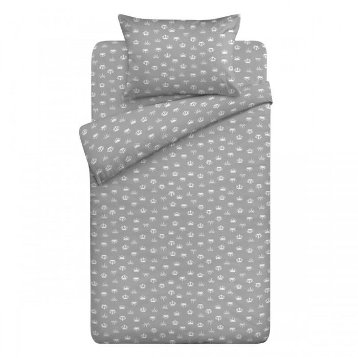 Постельное белье 1.5-спальное Letto Короны серый (3 предмета)