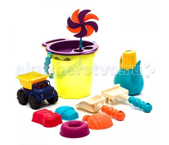 Battat Игровой набор для песка в  сумкеИгровой набор для песка в  сумкеBattat B.Dot Игровой набор для песка в сумке зеленый.  Оригинальный набор будет просто незаменим как на пляже, так и в саду! Сколько интересных идей и фантазий можно воплотить с помощью этого набора! Набор обязательно понравится ребятам, ведь от него так сложно оторваться.   В наборе:  ведерко с ручкой грабли лопата 4 формочки для песка сито  грузовичок лейка  воздушная вертушка  прозрачная пляжная сумка для хранения и комфортных путешествий.<br>