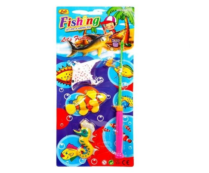 Игрушки для ванны Наша Игрушка Набор Рыбалка магнитная удочка и 4 фигурки интерактивная игрушка наша игрушка рыбалка с крючком удочка от 3 лет bw30035 2