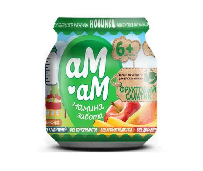 Купить аМ-аМ Пюре Фруктовый салатик Банан, груша, яблоко с 6 мес., 90 г в интернет магазине. Цены, фото, описания, характеристики, отзывы, обзоры