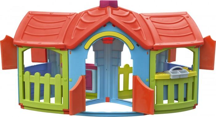 Palplay (Marian Plast) Игровой домик с двумя пристройкамиИгровой домик с двумя пристройкамиУдобный красивый домик для веселой игры, для помещения и улицы. Идеально для летнего отдыха на даче. Домик сделан из современных, нетоксичных материалов, с соблюдением европейского стандарта качества и безопасности для товаров для детей.  Сертифицировано в России. Игровой домик стимулирует малыша к активным действиям и движению, развивает воображение и стратегическое мышление.   Характеристики:  - легко собирается, без использования инструментов - конструкция домика очень надёжная и устойчивая  Размеры: 199x162.6x126h см Вес нетто: 28 кг.<br>