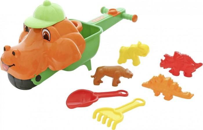 Игрушки в песочницу, Полесье Набор для песочницы: тачка Малыш Дин, совок, грабли, формочки  - купить со скидкой