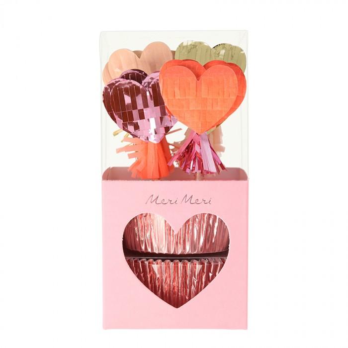 Товары для праздника MeriMeri Набор для капкейков Сердечки ar 1170фигурка на липучке сердечки с любовью юнион