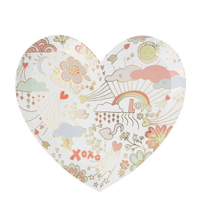 Товары для праздника MeriMeri Тарелки День Святого Валентина большие 8 шт.