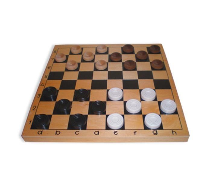 Настольные игры MPSport Шашки пластмассовые в деревянной коробке
