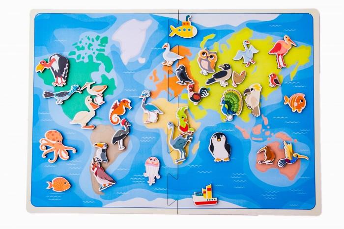 Купить Деревянные игрушки, Деревянная игрушка Сибирские игрушки Карта мира Птицы и морские животные (на липучках)