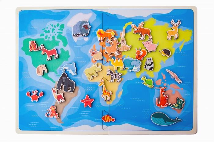 Купить Деревянные игрушки, Деревянная игрушка Сибирские игрушки Карта мира Травоядные животные (на липучках)