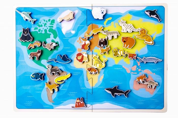 Купить Деревянные игрушки, Деревянная игрушка Сибирские игрушки Карта мира Хищиные животные (на липучках)