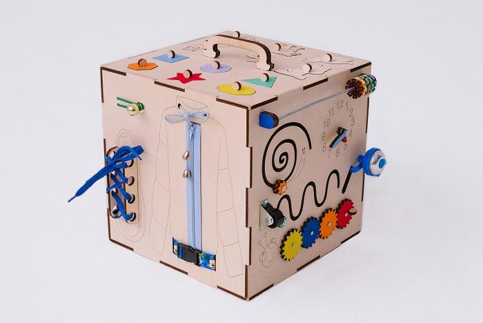 Картинка для Деревянная игрушка Бизикуб Техника и геометрические фигуры с телефоном