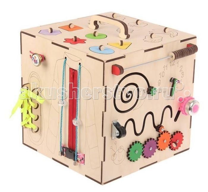 Деревянные игрушки Бизикуб Фрукты и геометрические фигуры с розеткой и телефоном