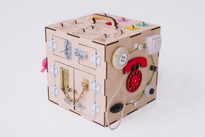 Картинка для Деревянная игрушка Бизикуб Домашние животные и геометрические фигуры с телефоном