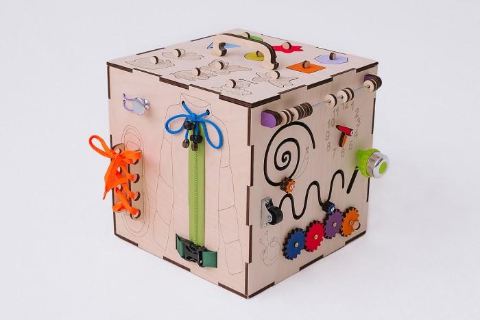 Деревянные игрушки Бизикуб Дикие животные и геометрические фигуры с розеткой и телефоном