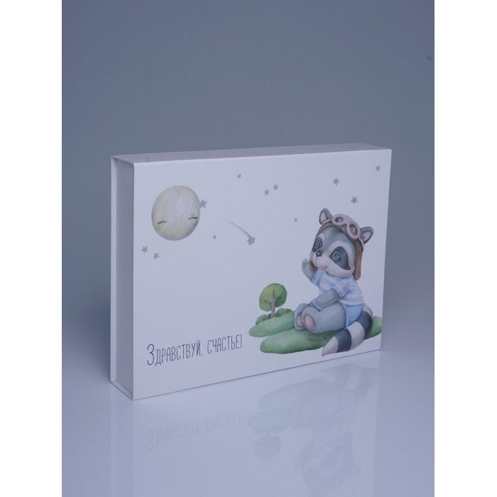 Miaworkstudio Подарочная коробка Енот для новорожденного Здравствуй, счастье! фото