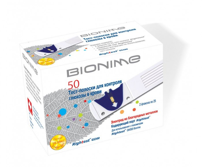 Bionime Тест-полоски для глюкометра Rightest GS300 50 шт.