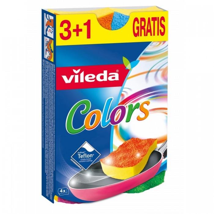 губка металлическая фэйт корнет 3 цвет серый 3 шт Хозяйственные товары Vileda Губка Пур Колорс 3+1 шт.
