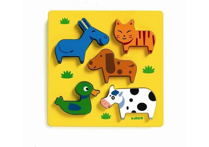 Деревянные игрушки Djeco Рамка-вкладыш Домашние животные djeco магнитный пазл забавные животные djeco