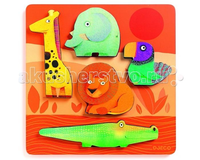 деревянные игрушки djeco косметика Деревянные игрушки Djeco Рамка-вкладыш Джунгли