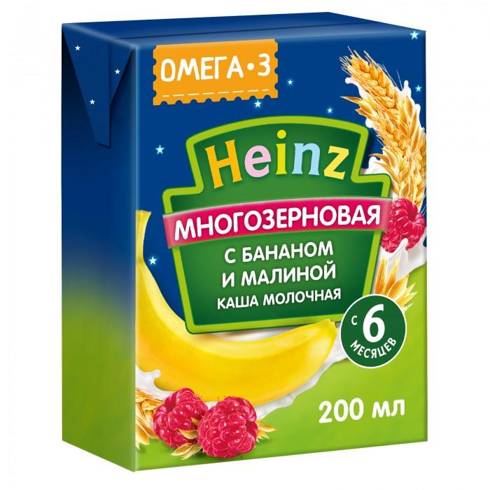 Каши Heinz Готовая молочная каша многозерновая с бананом и малиной с Омега 3 с 6 мес. 200 мл