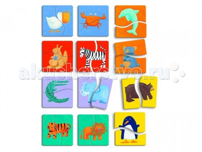Деревянные игрушки Djeco Пазл Разноцветные животные djeco пазл для малышей лесные животные