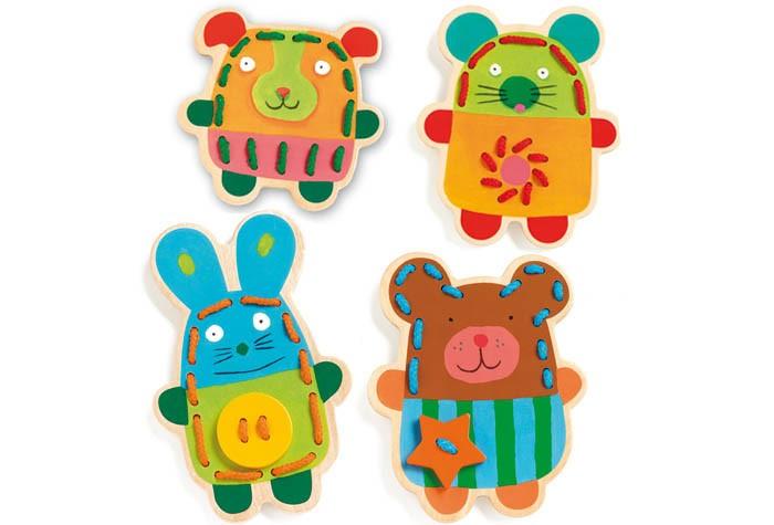 Деревянные игрушки Djeco Шнуровка Зверюшки деревянные игрушки djeco мой пикник