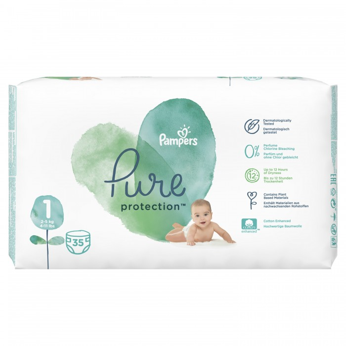 Pampers Подгузники Pure Protection р.1 (2-5 кг) 35 шт.