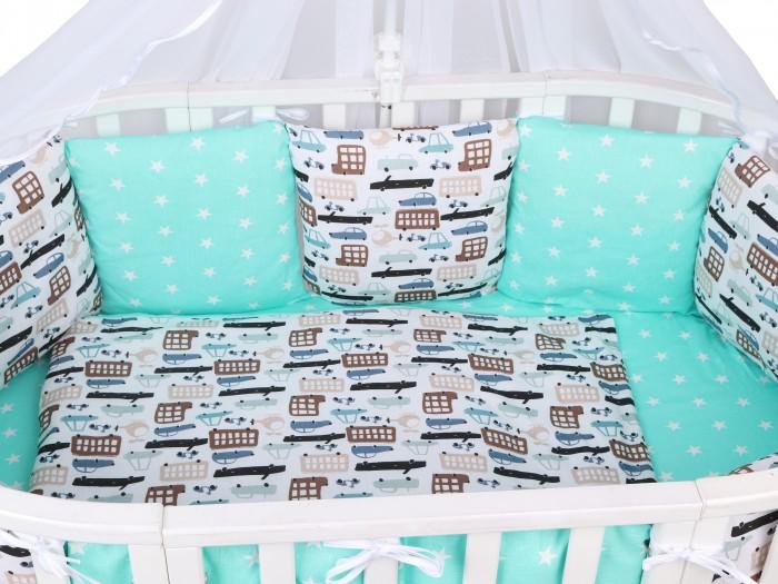 Бортики в кроватку AmaroBaby Трасса 12 предметов комплект в кроватку amarobaby 15 предметов 3 12 подушек бортиков совята бязь желтый серый