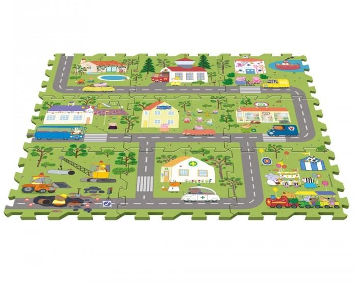 Игровые коврики, Игровой коврик Свинка Пеппа (Peppa Pig) Пазл Город Пеппы (9 сегментов)  - купить со скидкой