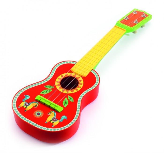 Музыкальная игрушка Djeco ГитараГитараКрасивая звонкая гитара от Djeco станет прекрасным подарком для каждого юного меломана. Деревянная гитара раскрашена яркими красками, имеет хороший звук и удобные размеры для маленьких детских ручек. Новая гитара от Djeco станет прекрасным пополнением к остальной коллекции музыкальных инструментов.  Игра с детскими музыкальными инструментами способствует развитию тактильных навыков, мелкой моторики детских ручек. Кроме того, это способствует воспитанию музыкального слуха и чувства ритма ребенка.  Гитара сделана из высококачественного дерева, покрыта безопасными нетоксичными красками.  Размер: 53х17х5 см  Продается в яркой подарочной упаковке.   Французская компания Djeco производит развивающие игрушки и игры для детей, а также наборы для творчества и детали интерьера детской комнаты. Все товары Djeco отличаются высочайшим качеством, необычной идеей исполнения. Изображения и дизайн специально разрабатываются молодыми французскими художниками.<br>